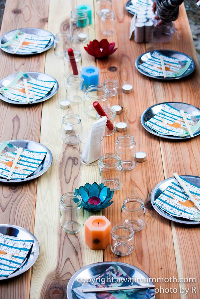 バーベキューテーブルの雰囲気