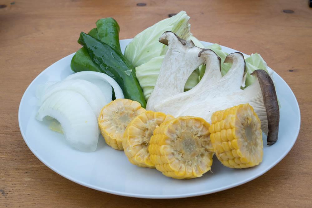 バーベキュー食材セットの野菜
